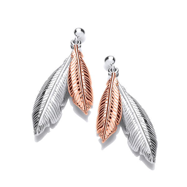 Silver and Rose Gold Double Feather Spirit Drop Earrings