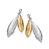 Silver and Gold Vermeil Double Feather Spirit Drop Earrings