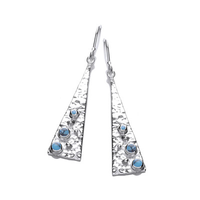 Silver and Turquoise Pyramid Drop Earrings