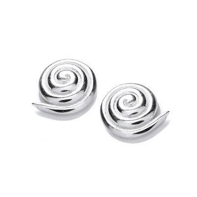Silver Spiral Shell Earrings