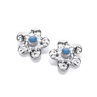 Silver and Turquoise Flower Earrings