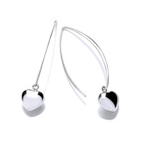 Silver Trapezium Heart Earrings