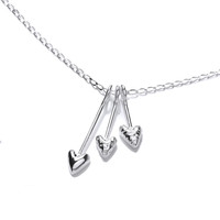 Silver Triple Corazon Necklace