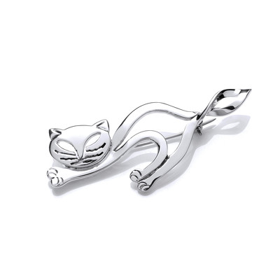 Silver Lazy Cat Brooch