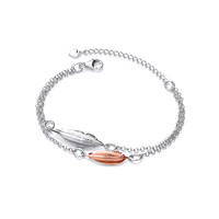 Silver and Rose Gold Double Feather Spirit Bracelet