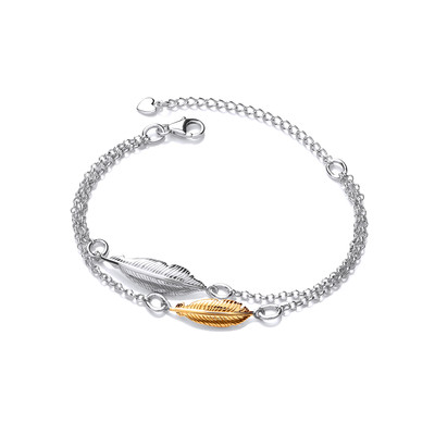 Silver and Gold Vermeil Double Feather Spirit Bracelet