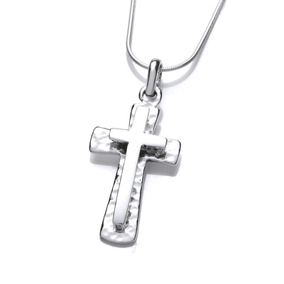 Silver Double Crafted Cross Pendant