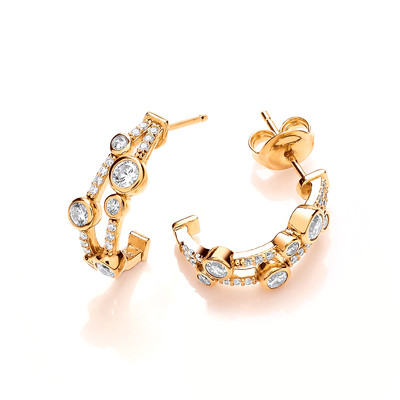 Silver, Cubic Zirconia and Gold Vermeil Boodled Earrings
