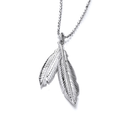 Silver Double Feather Spirit Pendant
