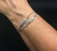Silver Double Feather Spirit Bracelet