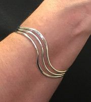 Silver Triple Band Wave Bangle