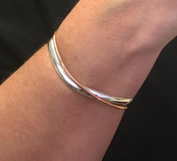 Sterling Silver and Copper Overlap Cuff Bangle