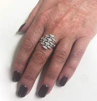 Silver and CZ Vintage Style Waterfall Ring