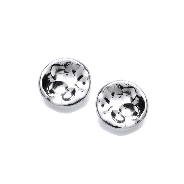 Small Round Textured Silver Stud Earrings