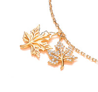 Silver, Cubic Zirconia and Gold Vermeil Maple Leaf Bracelet