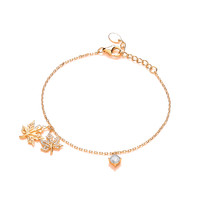 Silver, CZ and Gold Vermeil Maple Leaf Bracelet