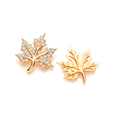 Silver, Cubic Zirconia and Gold Vermeil Maple Leaf Earrings