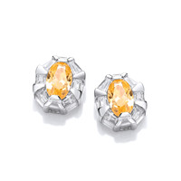 Silver and Citrine CZ Regal Earrings