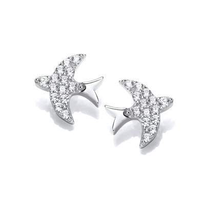 Silver & Cubic Zirconia Swift Stud Earrings