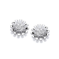 Silver and CZ Daisy Earrings
