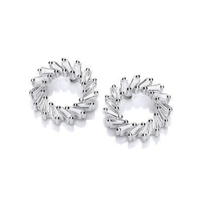 Silver & Cubic Zirconia Wreath Earrings