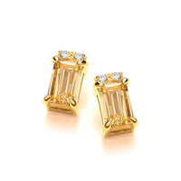Golden Glory Baguette Cut CZ Earrings