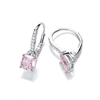 French Deco Style Pink Diamond CZ Earrings