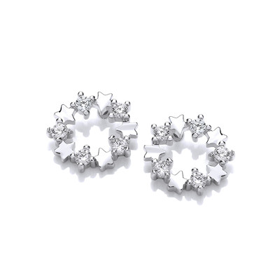 Silver & Cubic Zirconia Disco Star Earrings