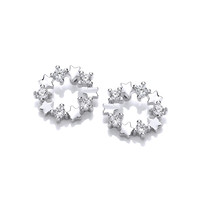 Silver and CZ Disco Star Earrings