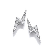 Silver and CZ Lightning Earrings