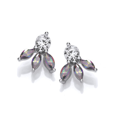 Silver & Alexandrite Cubic Zirconia Petals Earrings