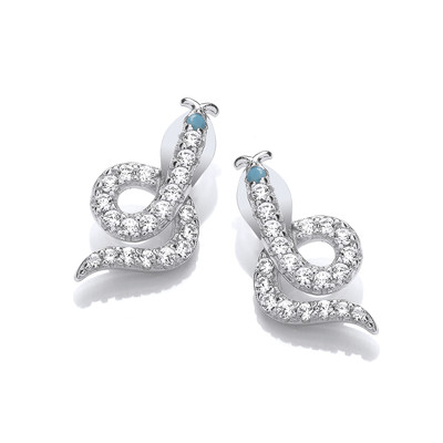 Silver & Cubic Zirconia Serpent Earrings