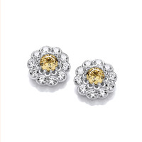 Silver and Citrine CZ Flower Earrings