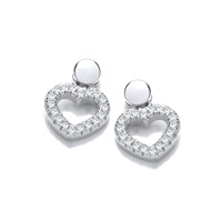 Silver and CZ Lovers Earrings