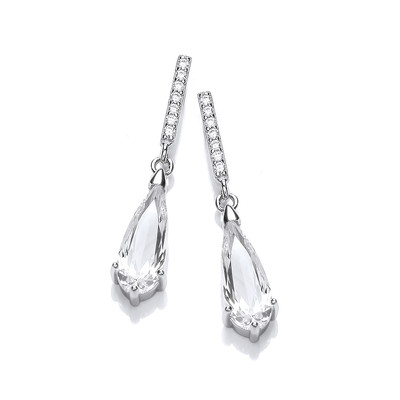 Deco Drama Silver & Cubic Zirconia Drop Earrings