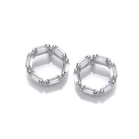 Silver and CZ Life Circle Earrings