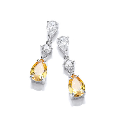 Silver & Citrine Cubic Zirconia Vintage Style Teardrop Earrings