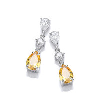 Silver and Citrine CZ Vintage Style Teardrop Earrings