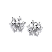 Silver & Cubic Zirconia Icy Snowflake Earrings