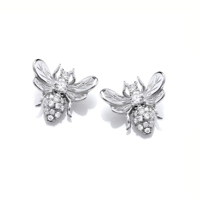 Silver & Cubic Zirconia Honey Bee Earrings