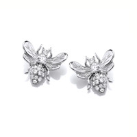 Silver and CZ Honey Bee Earrings
