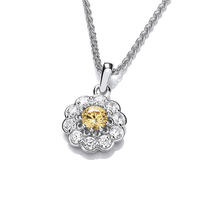 Silver and Citrine Cubic Zirconia Flower Necklace