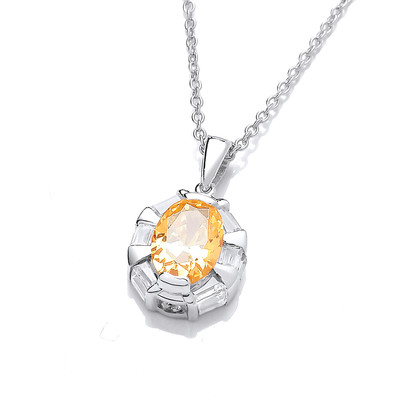 Silver and Citrine Cubic Zirconia Regal Necklace