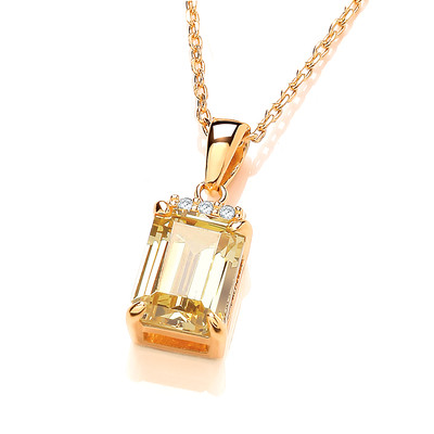 Golden Glory Baguette Cut Cubic Zirconia Necklace