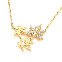 Silver, Cubic Zirconia and Gold Vermeil Maple Leaf Necklace