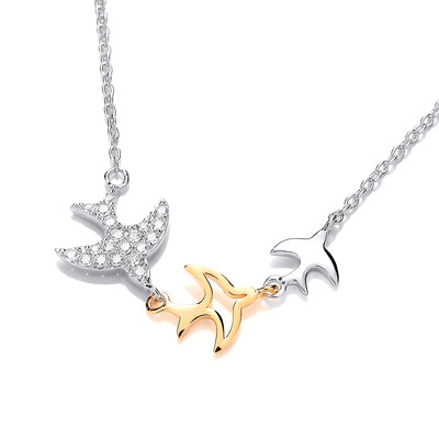 Silver, Cubic Zirconia and Gold Swift Necklace