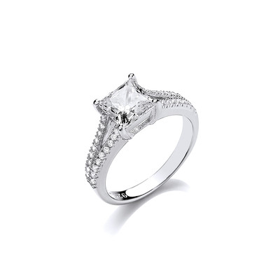 Silver and CZ Square Cut Solitaire Ring