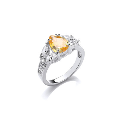 Silver and Citrine CZ Vintage Style Teardrop Ring
