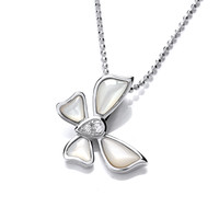 Silver, CZ and Mother of Pearl Butterfly Pendant