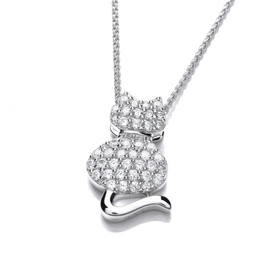 Silver and CZ Fat Cat Pendant